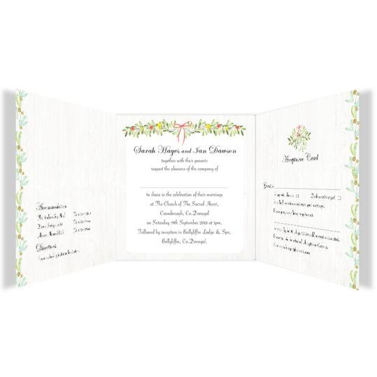 Shimmering Garland Wedding Invitation Tri-fold w rsvp_front_2
