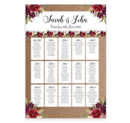 Boho Burgundy wedding table plan_front