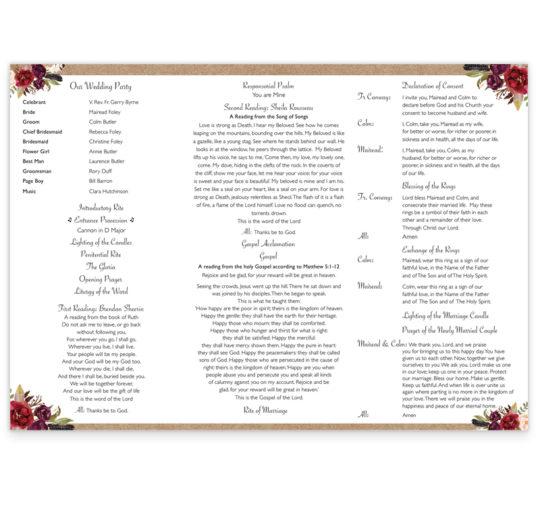 Burgundy Boho Wedding Ceremony Pamphlet_inside