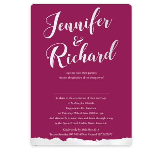 Burgundy Foil Flat Wedding Invite
