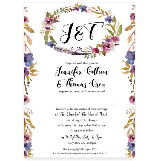 Burgundy Floral Flat Invite