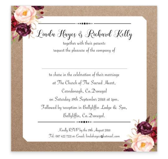 Burgandy Boho Flat wedding Invite_back