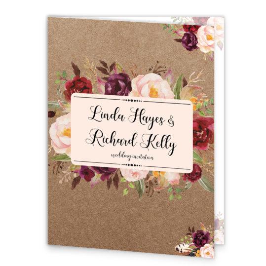 Burgundy Boho Wedding Booklet Cover Front