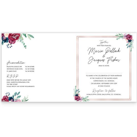 Delicate Blooms in Colour Folding Wedding Invite_inside_2