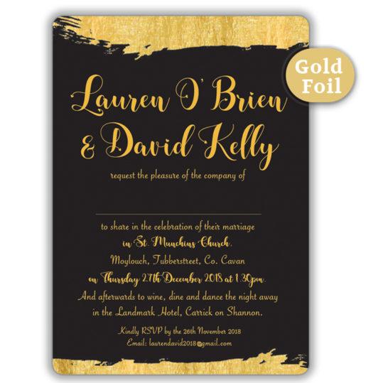 Brush Stroke Gold Black and Gold Foil Wedding Invite Black_finished