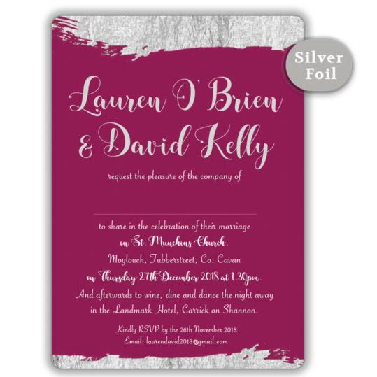 Brush Stroke Silver Foil Wedding Invite_Burgundy