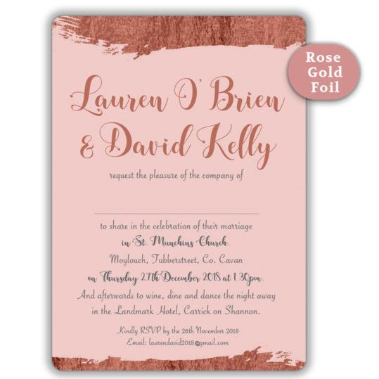 Brush Stroke Rose Gold Foil Wedding Invite_Pink