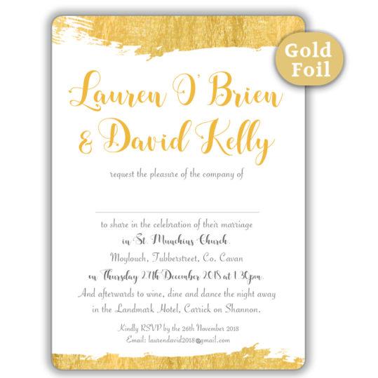 Brush Stroke Gold Foil Wedding Invitation_white