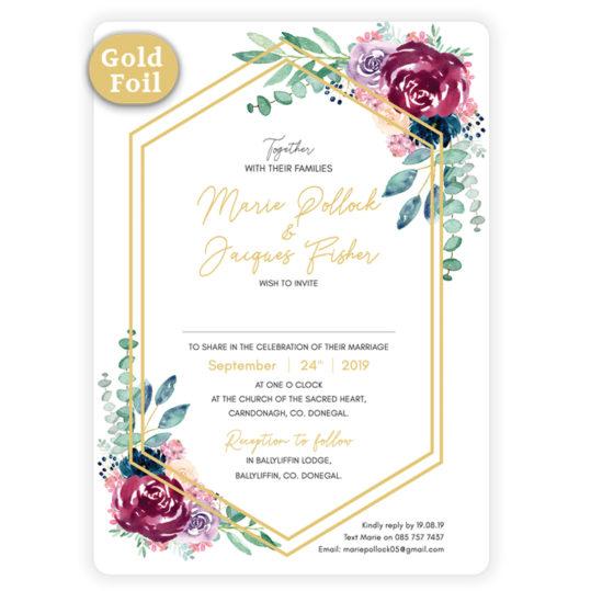 Delicate Gold Bloom _Wedding Invite
