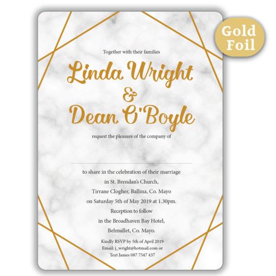 Marble Gold Foil Wedding Invite