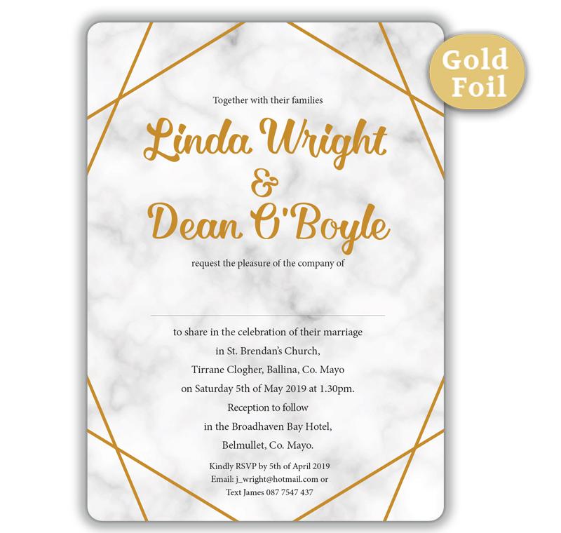 Wedding Invite Sample: Marble Gold Foil Wedding Invitation Sample