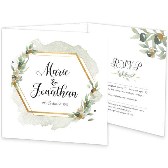 Beautiful Botanical Wedding Invite Tri-fold_front