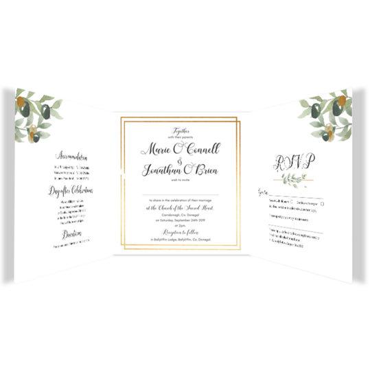 Beautiful Botanical wedding Invite Tri-fold_inside