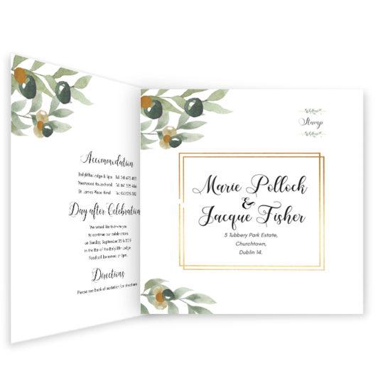 Beautiful Botanical Wedding Invite Tri-fold_inside_2