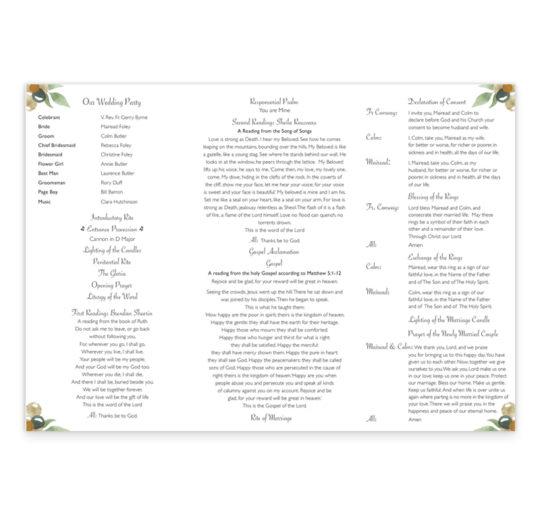 Beautiful Botanical Ceremony Pamphlet_inside