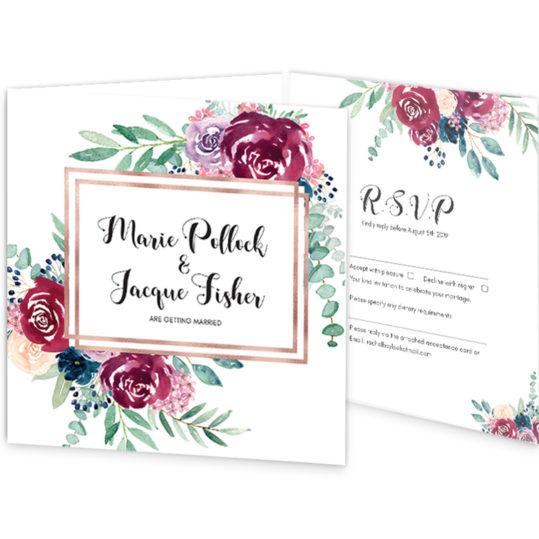 Delicate Bloom Tri-fold wedding Invite_front