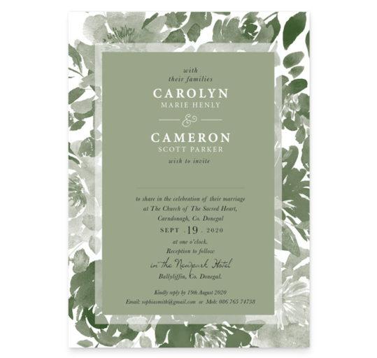 Forest Green Flat Wedding Invite