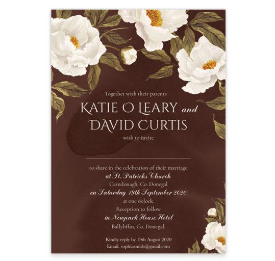 Noble White Peonies Wedding Invitation