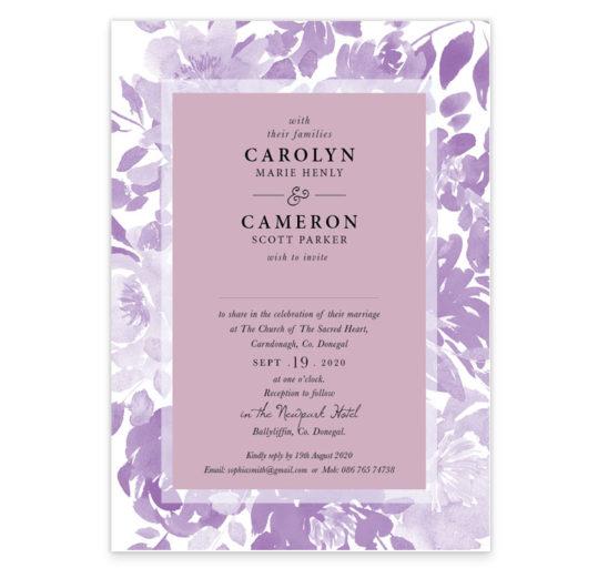Ultra Violet Flat Wedding Invite