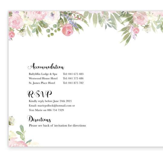 Blush Rose Wedding Invite inside