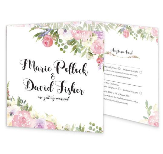 Blush Rose Wedding Invite front