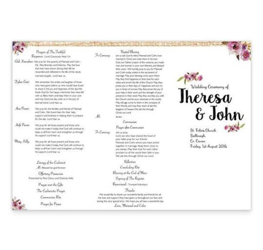 Antique Floral Wedding Ceremony Booklet