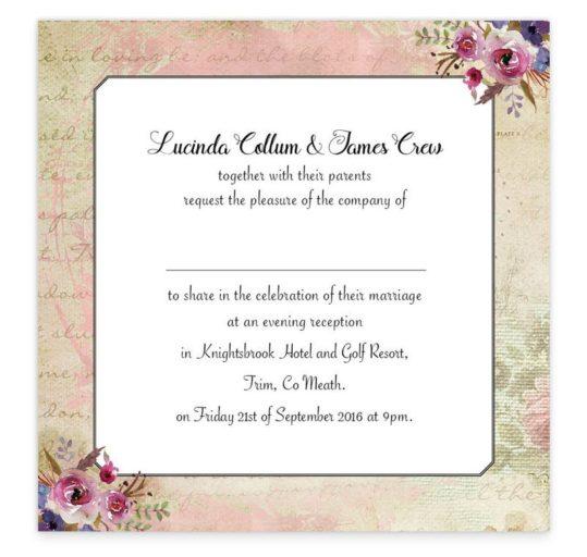 Antique Floral Evening Invitation