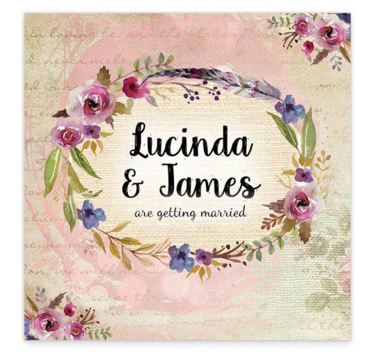 Antique Floral Flat Wedding Invitation Sample