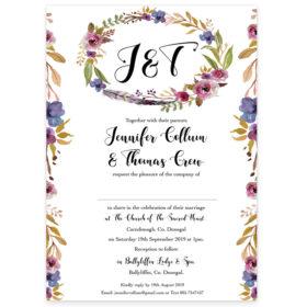 Antique Floral Wedding Invitation Rectangular