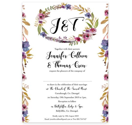 Antique Floral Wedding Invitation Rectangular sample
