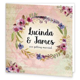 Antique Floral Folding Wedding Invitation