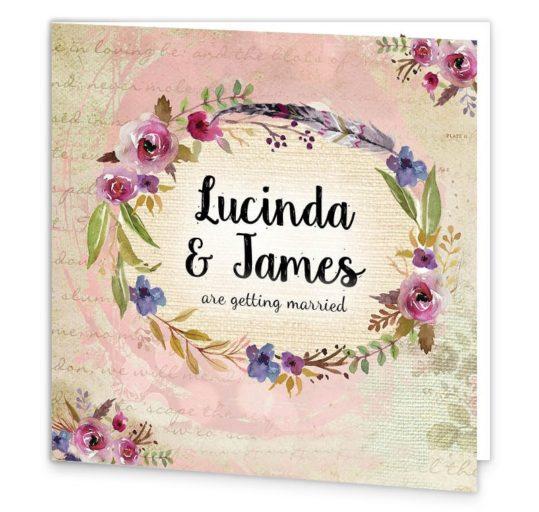 Antique Floral Folding Wedding Invitation Sample