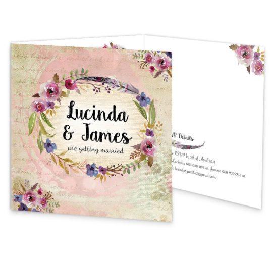 Antique Floral Tri Fold Wedding Invitation Sample