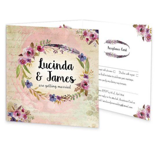 Antique Floral Tri-fold wedding invite & rsvp Sample