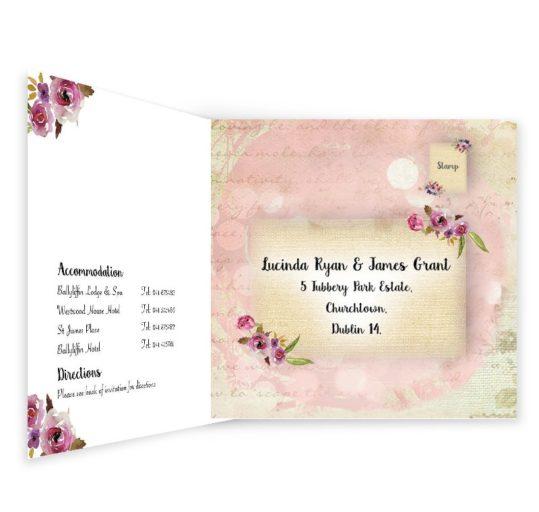 Antique Floral Tri-fold wedding invite & rsvp