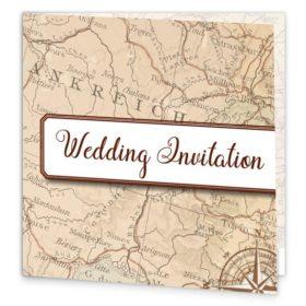 Around The World Folding Wedding Invite Sample