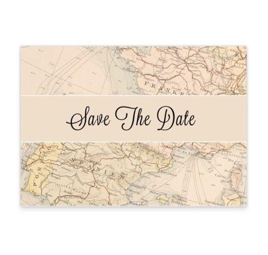 Around The World Wedding Save The Date Card