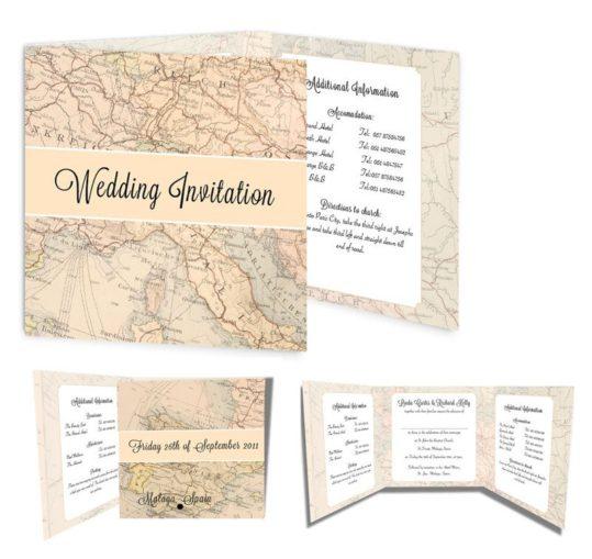 Around The World Tri-fold Wedding Invite Sample