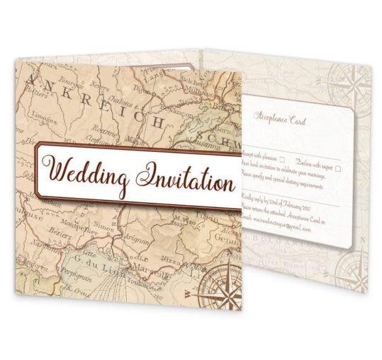 Around The World Tri-fold Wedding Invite & RSVP