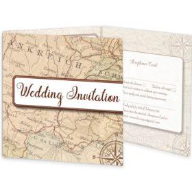 Around The World Tri-fold Wedding Invite & RSVP Sample