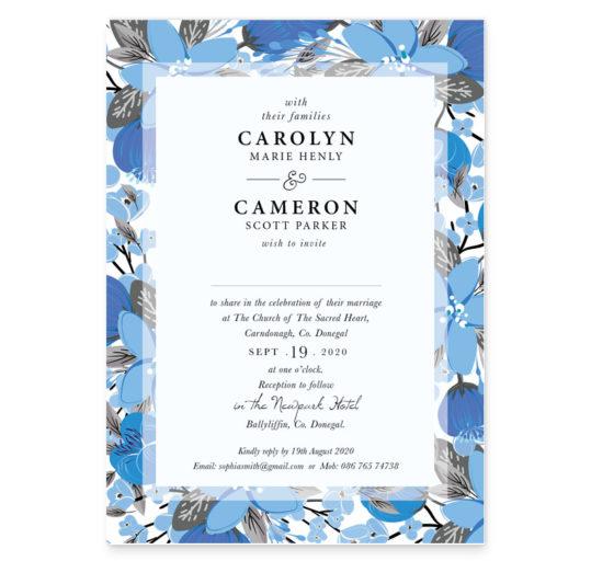 Blue Mist Flat Wedding Invitation sample