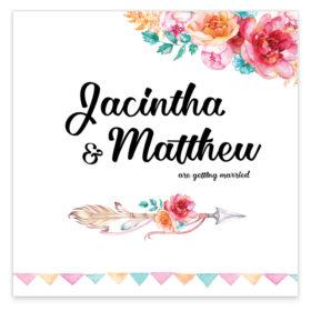 Boho Chic Flat Wedding Invitation sample
