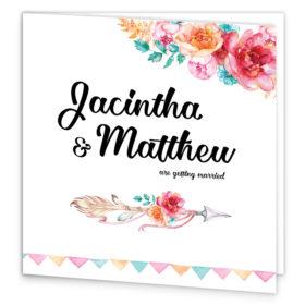 Boho Chic Folding Wedding Invitation