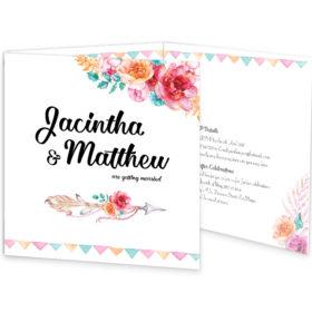 Boho Chic tri-fold wedding invitation sample