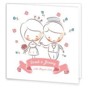 Bride & Groom Folding Wedding Invitation