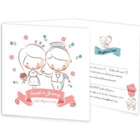 Bride & Groom Tri-fold wedding invite & rsvp sample
