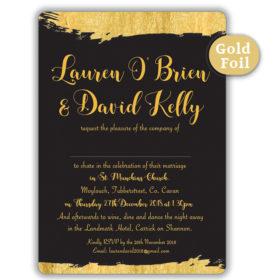 Brush Stroke Gold Foil Wedding Invitation_Black