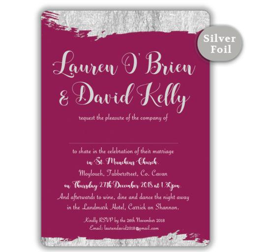 Brush Stroke Silver Foil Wedding Invitation_Burgundy