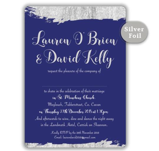Brush Stroke Silver Foil Wedding Invitation_Navy
