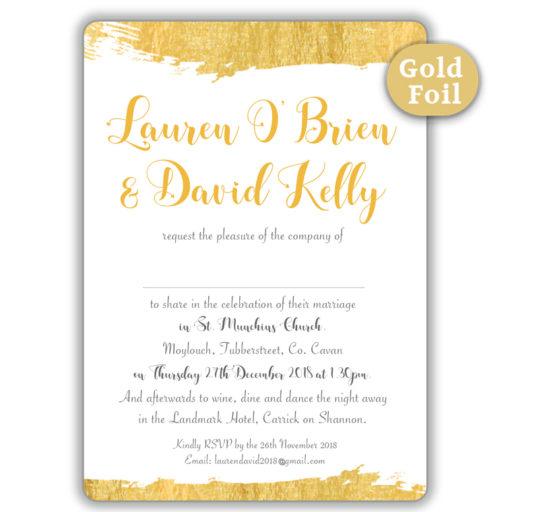 Brush Stroke Gold Foil Wedding Invitation_white sample